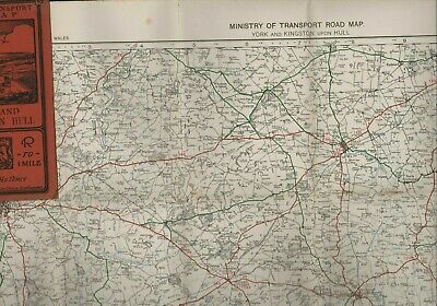 """1923 Ministry of Transport 1/2"""" Road Map YORK & Kingston upon Hull cloth HL1.939"""