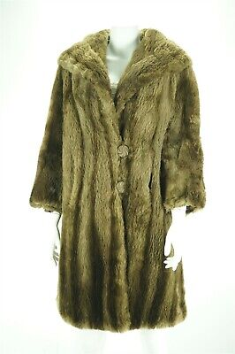 5d0229103 F10336 Sheared Beaver Real Fur Women Size M Coat Stroller Brown Vintage