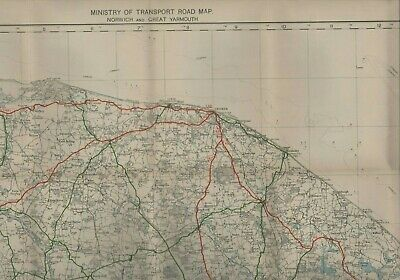 1923 Ministry of Transport Road Map GREAT YARMOUTH & NORWICH cloth HL1.942