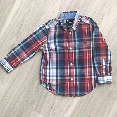 Chaps Long Sleeve Plaid Button Down Shirt Toddler Size 3T