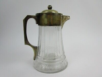 Antique John Grinsell & Sons Cut Glass Silver Plate Claret Jug Pitcher w/ Insert