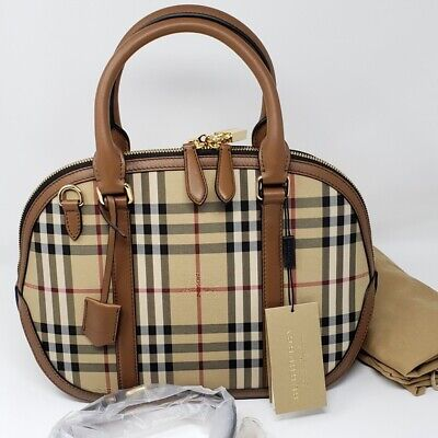 f7c7e9391406 Brand New Burberry Horseferry Check Small Orchard Bowling Tote Tan Satchel  Bag