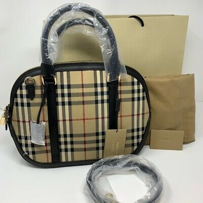 f2a01ed5ddc3 Brand New with Tag Burberry Horseferry Check Small Orchard Bowling Satchel