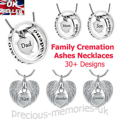 Silver Family Cremation Ashes Urn Pendant - Keepsake Necklace Memorial Jewellery
