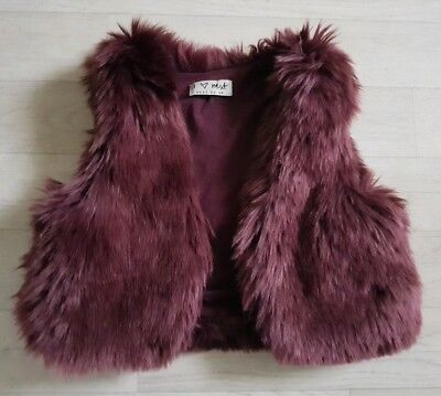 NEXT age 18 - 24 months PURPLE faux FUR GILET baby girl 1 1/2 - 2 years jacket