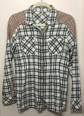 Free People Plaid Flannel Button Down Top long sleeve Sz Small *Tiny Hole (G5)