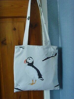 handmade new TOTE LINED BAG 13.5in IN PUFFIN SEABIRD BIRD PRINT  GREY FABRIC
