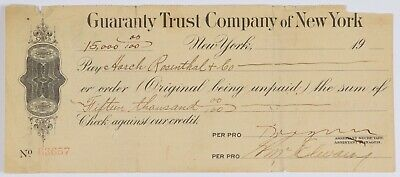 Vintage 19xx Check Harch Rosenthal & Co Italian Discount & Trust Company $15,000
