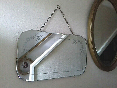Lovely Large Vintage Art Deco Frameless Mirror with Flower Etching