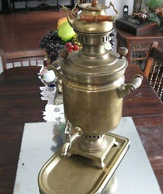 Huge Antique Authentic Complete  Russian Brass  Samovar And Under Tray