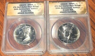 2014 P AND D Kennedy Half Dollar ANACS SP69 UNC 2 COIN SET