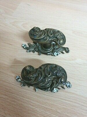 Vintage Brass Ornate Twist Handles - lovely design