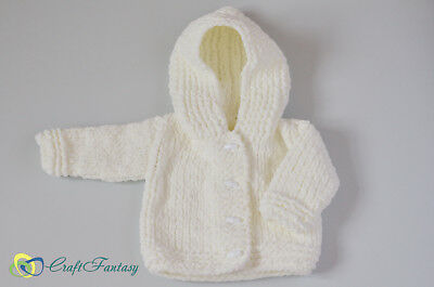 New Hand Knitted Baby Hooded Super Soft Cardigan Jacket 0-6 months