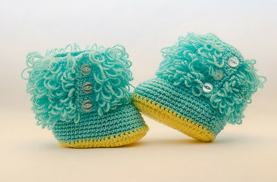 New hand knitted/crochet baby loopy booties/bootees  6-9 months