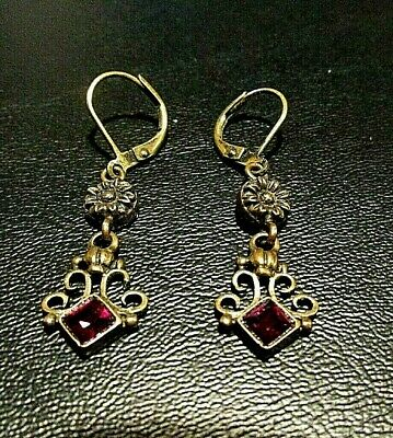 Vintage Brass colored with a cut  red glass/stone Hanging  Earrings