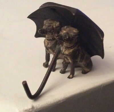 Antique Miniature Cold Painted Bronze Of Two Dogs Under An Umbrella 2.5cm High