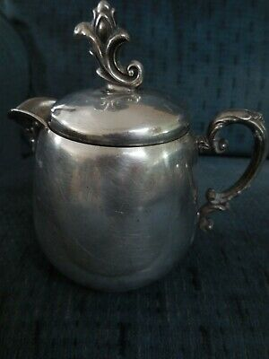 Antique Silver Plate Wm Rogers Lidded Creamer Pitcher