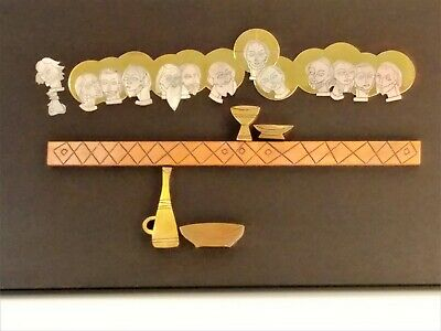 Vintage Modernist Mexico Large Sterling Silver Brass Copper Emaus Last Supper