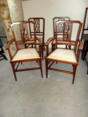 Edwardian Inlaid  Pair Carver Chairs And Two Single Chairs