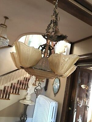Vtg Antique Art Deco Mep Markel Slip Shade Chandelier Lights Lighting Fixture