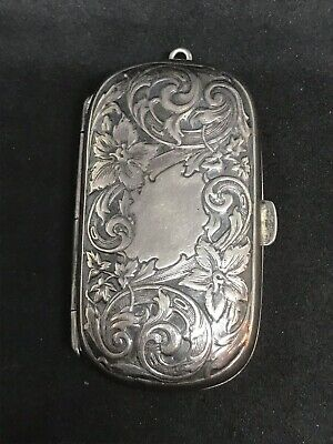 Antique Sterling Silver Chatelaine Victorian Case Snuff Box Repousse