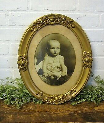 Antique Victorian Oval Gilt Gold Gesso Ornate Frame Baby Girl Photo 16 x 13