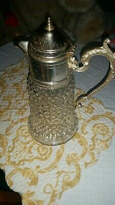 Cut Glass Unknown Sterling Silver Content  Claret Jug