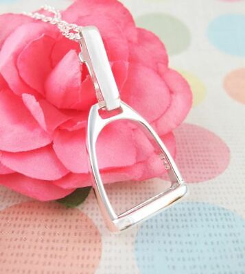 English Stirrup Necklace Horse Equine Equestrian Jewelry Sterling Silver wh561