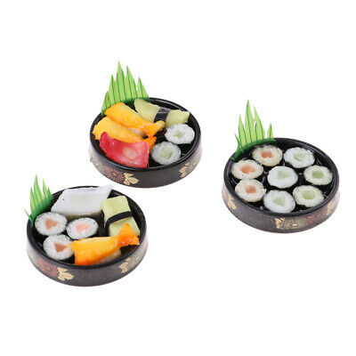 3PCS 1:6 Doll House Miniature Vivid Japanese Food Model Sushi - Round Plate
