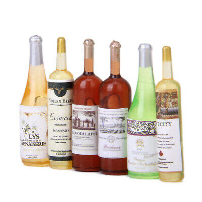 Pack of 6pcs 1/12 Scale Colorful Wine Bottles Dollhouse Miniature Bar Decor