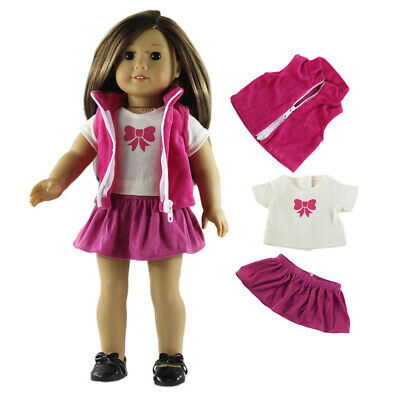 T-Shirt Pleated Skirt Waistcoat Clothes for 18' AG American Doll My Life Doll