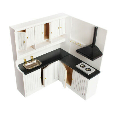 1/12 Dollhouse Miniature Kitchen WOODEN Cupboard Cabinet with Stove Sink