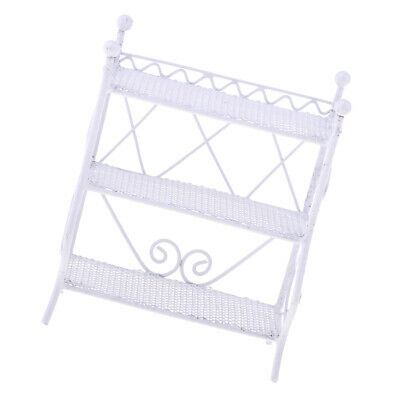 Rectangle Flower Stand Plant Rack 1/12 scale Dollhouse Miniature Accs White