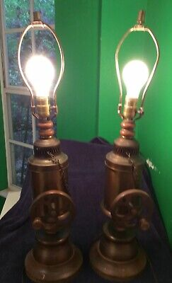 "Pair Of Vintage Copper Electric Table Lamps w/Wood Base~Nautical Theme 18"" H"