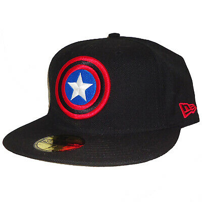 9d734d9195122 New Era Marvel Avengers Captain America Shield Black Wool 59Fifty Fitted  Cap Hat