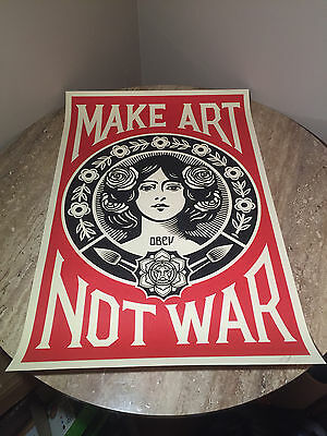 "OBEY Giant Shepard Fairey ""Make Art Not War"" Lithograph Signed"