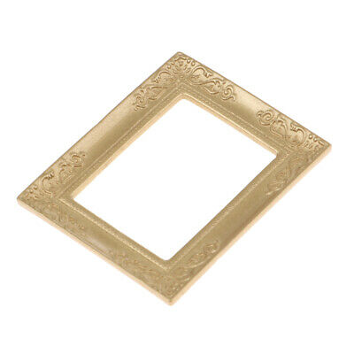 Doll House Rectangular Photo Frames 1:12th DollHouse Miniatures Decor Golden