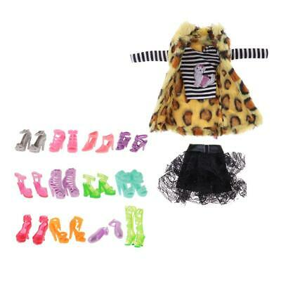Trendy Clothes Suit 1 Set & 12 Pairs Shoes for 30cm Doll Girl Gift