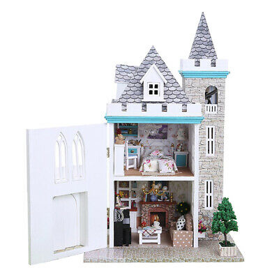 Moonlight Castle Themed Dollhouse DIY Miniature Project Kit Kids Play Gifts