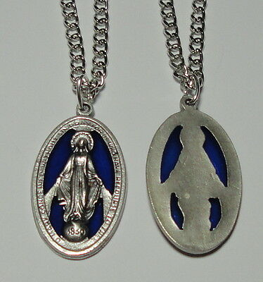 "Large Miraculous Medal Pendant with Blue Enamel on 24"" Stainless Steel Chain"
