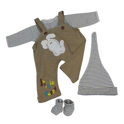 Cute Striped Tee Overalls Set Outfit Clothing for Newborn Baby Doll Reborn
