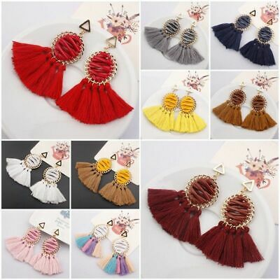 Women Ethnic Bohemian Long Tassel Fringe Ear Stud Dangle Earrings Jewelry Gift