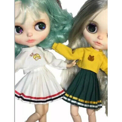 "Cute School Style Pleated Skirt Dress Outfit for 12"" Blythe Licca Dolls Clothes"