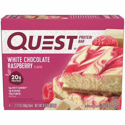 Quest Nutrition Protein Bar, White Chocolate Raspberry, High Protein Bars,4 ct