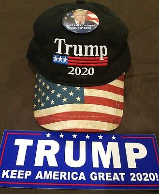 President Trump 2020 American Flag Hat With Trump Wearing Red Kag Hat Button