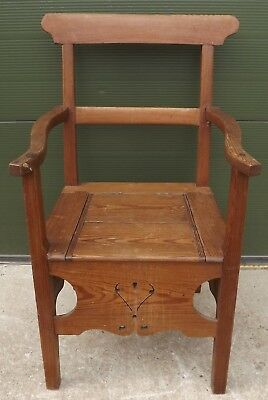 Antique Victorian Solid Stripped Pine Commode Armchair Chair Country Piece