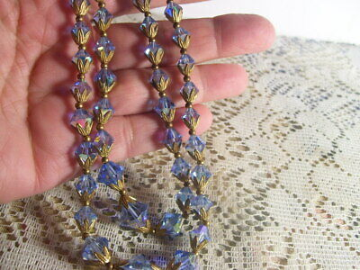 Vintage Blue Crystal Glass Bead Double Strand Aurora Borealis Necklace