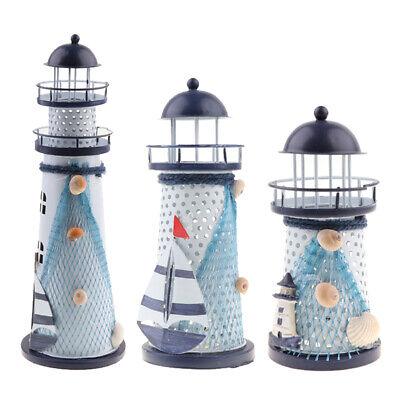 Modern Iron Nautical Lighthouse Table Lamp LED Light Home Office Decor
