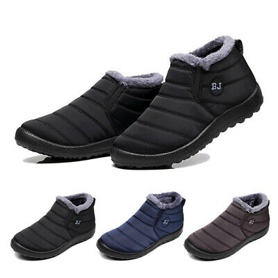 Mens Winter Snow Ankle Soft Fur Lined Flat Slippers Outdoor Warm Shoes