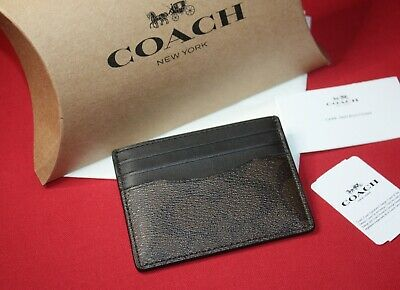 COACH Mens Slim ID Card Case In Mahogany And Black Signature Coated Canvas New